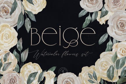 Beige - Watercolor Roses And Leaves Collection