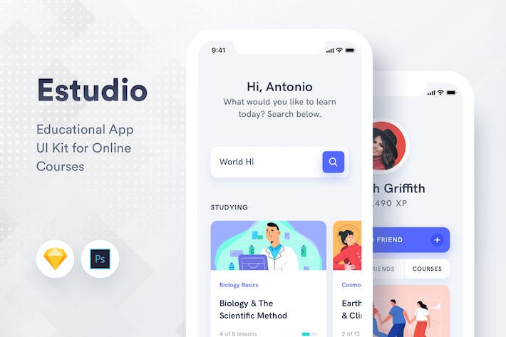 Thumbnail for Estudio - Educational Mobile App UI