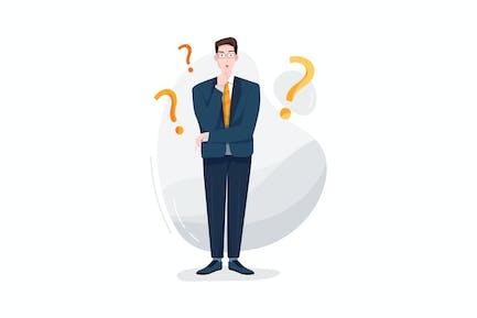 Businessman stands between question mark symbols