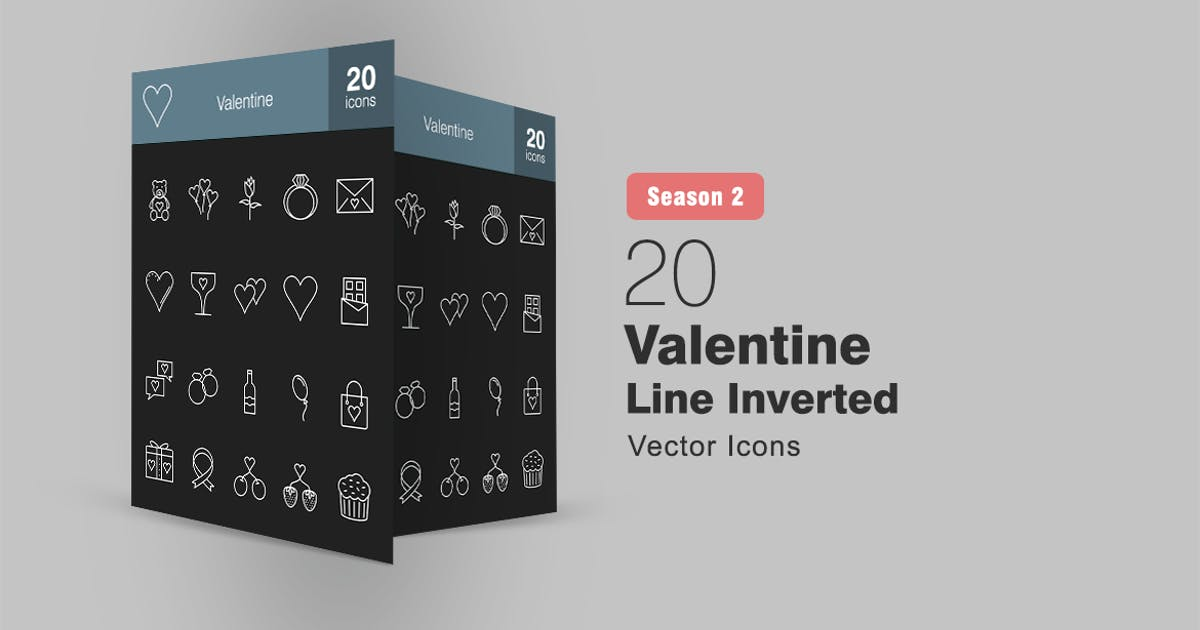 Download 20 Valentine Line Inverted Icons Season II by IconBunny