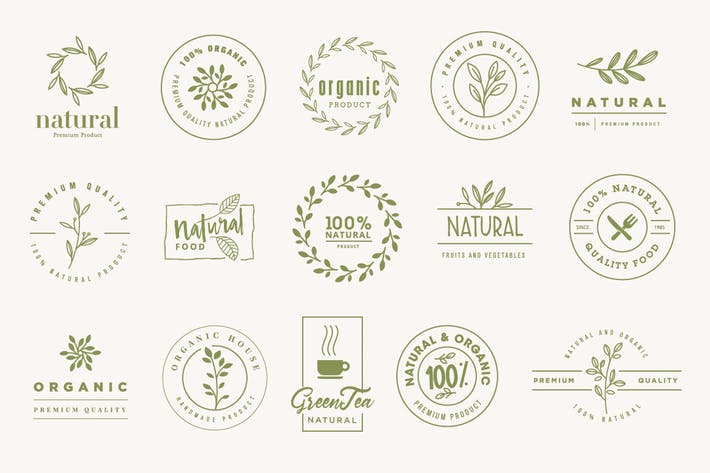 Set of signs for organic and natural products