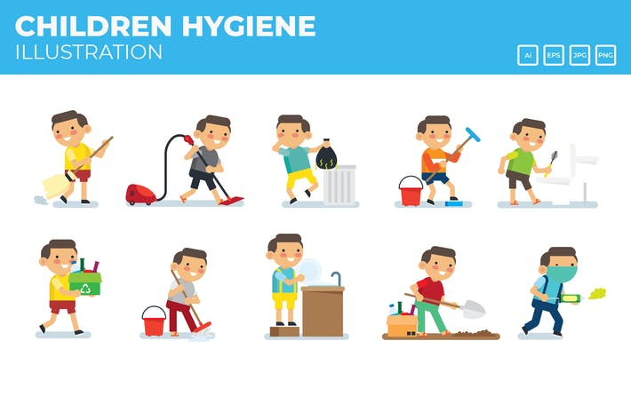 Thumbnail for Hygiene campaign, Kids doing house cores vector