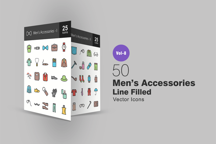 Thumbnail for 50 Men's Accessories Line Filled Icons