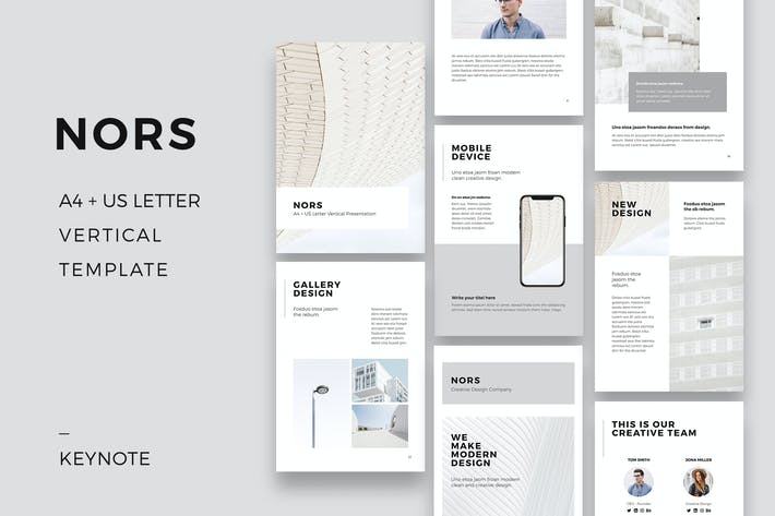 cover image for nors a4 us letter vertical keynote template