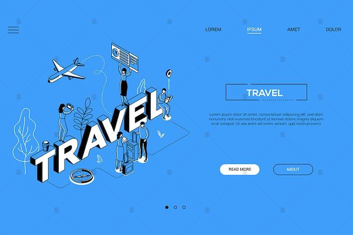 Illustration isométrique de l'agence de voyage