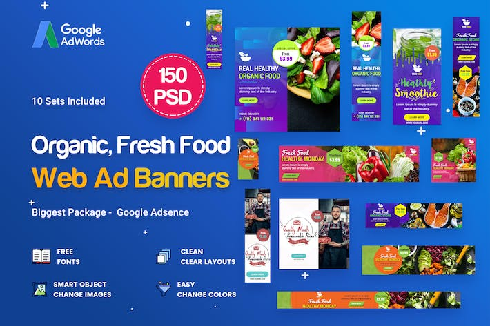 Thumbnail for Organic, Fresh Food Banners Ad - 150 PSD