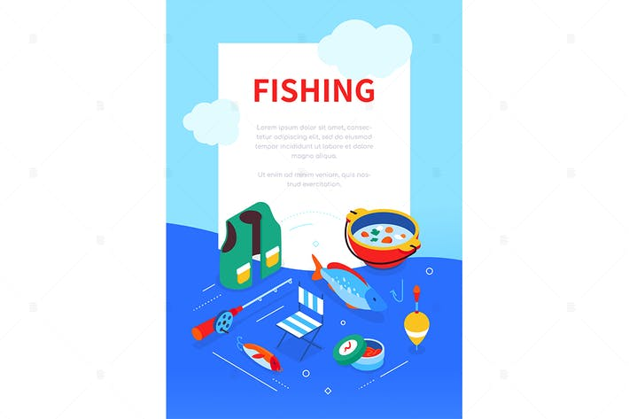 Fishing supplies - colorful isometric web banner
