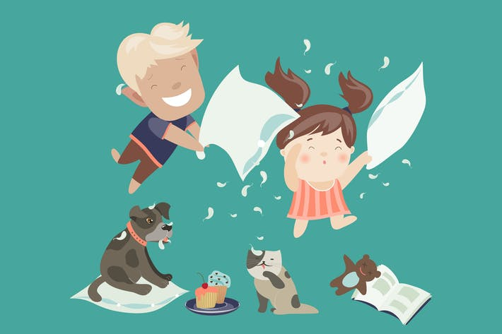 Thumbnail for Funny kids having a pillow fight. Vector