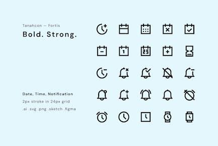 UI-Symbol-Set — Datum, Uhrzeit, Benachrichtigung
