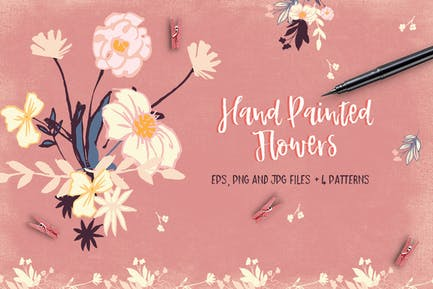 Handbemalte Blumen