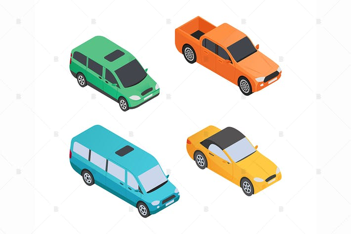 Thumbnail for Vehicles Types - isometric colorful elements