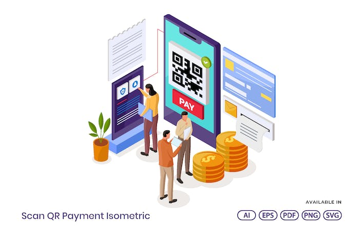 Scan QR Payment Isometric