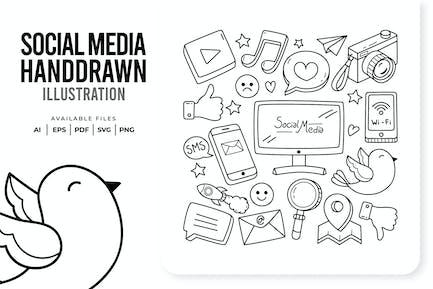 Soziale Medien Handgezeichnet