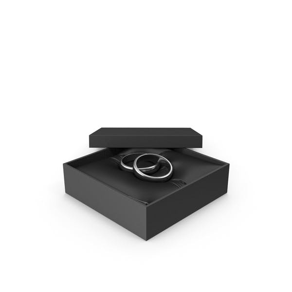 Wedding Silver Rings in a Gift Black Box