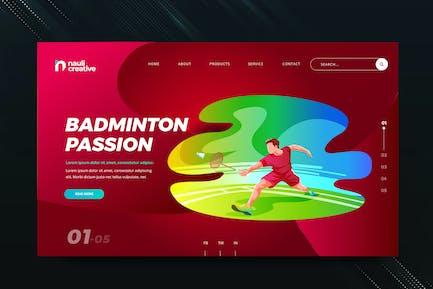 Badminton Sports Web PSD and AI Vector Template
