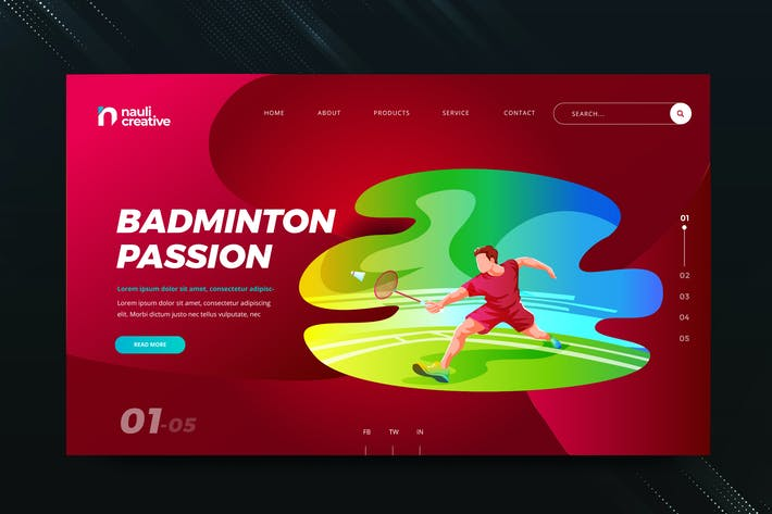 Badminton Sports Web PSD and AI Vector Template