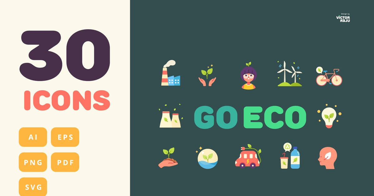 Download 30 Go Eco Flat Style Icons Pack by Victoruler