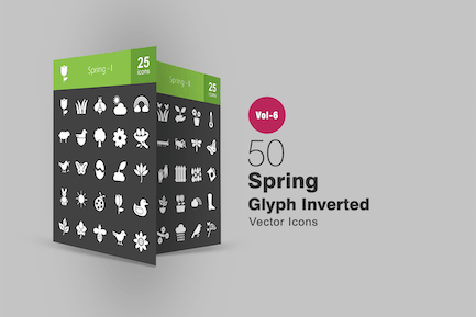 50 Spring Glyph Inverted Icons