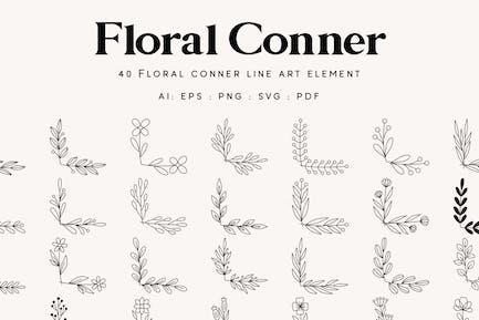 40 Floral Corner Border Line art - Element