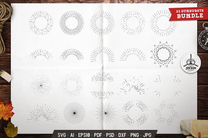 Thumbnail for Sunburst Icons Set Silhouette, Line Vector Graphic