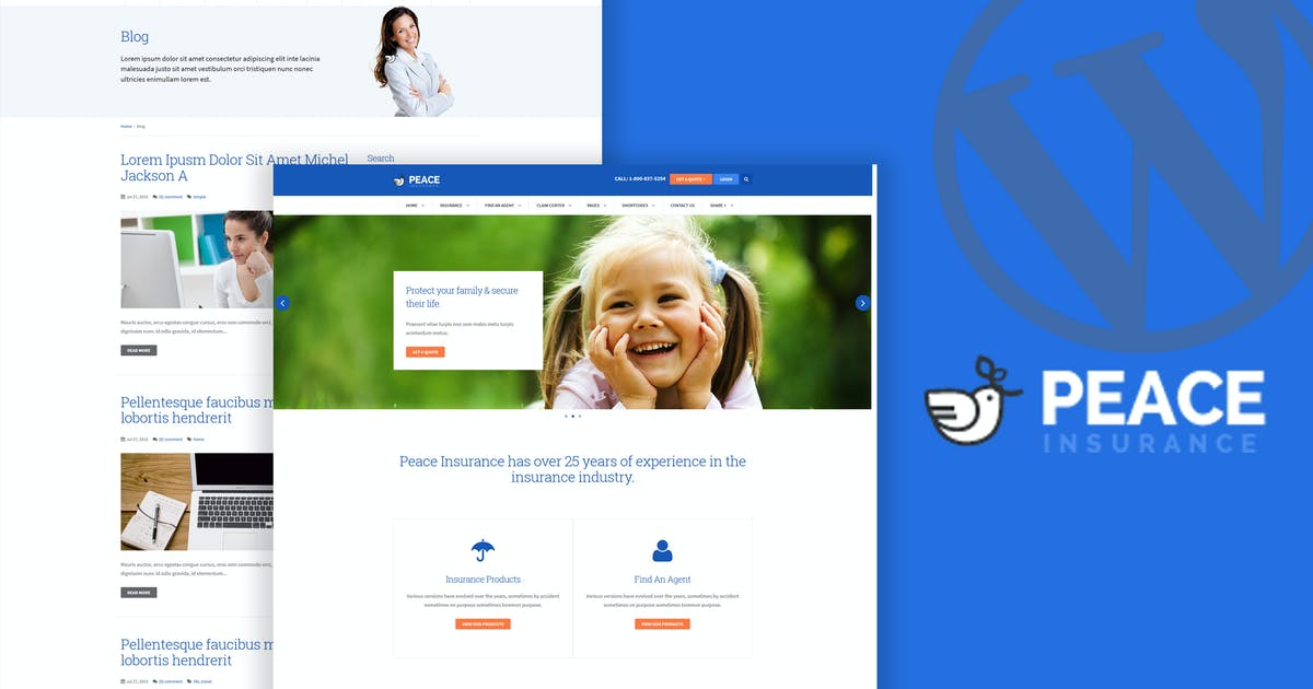Download Peace – Insurance Agency WordPress Theme by OceanThemes