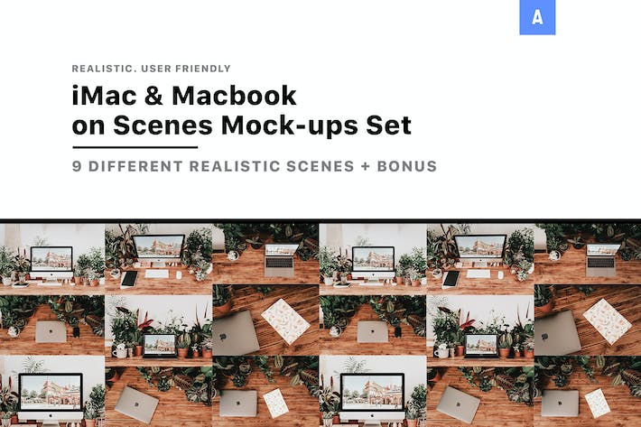 Thumbnail for iMac & Macbook on Scenes Mock-ups