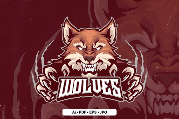 wolf 4 Mascot Logo template