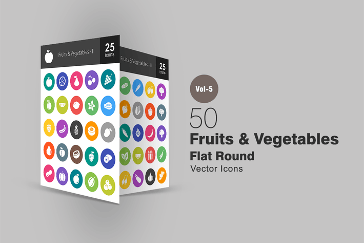 Thumbnail for 50 Fruits & Vegetables Flat Round Icons