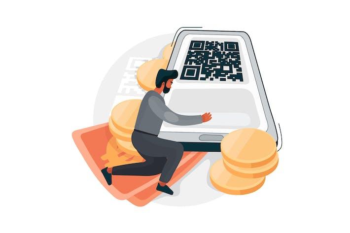 Scan QR code for online payment Illustration