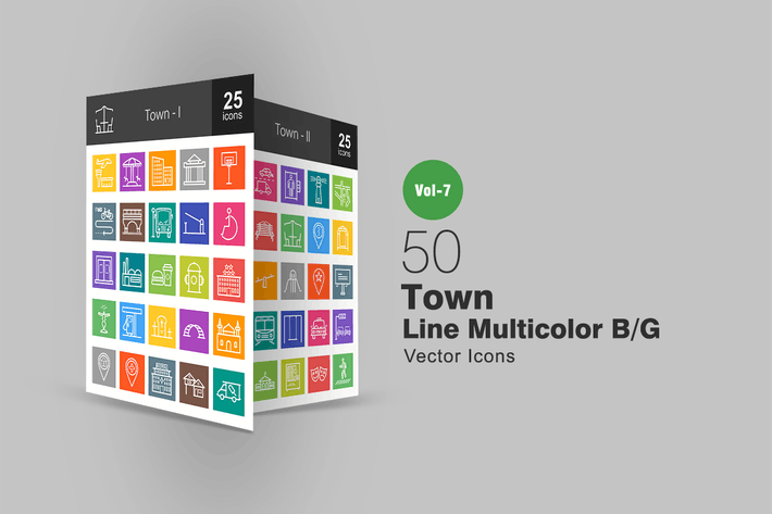 Thumbnail for 50 Town Line Multicolor B/G Icons