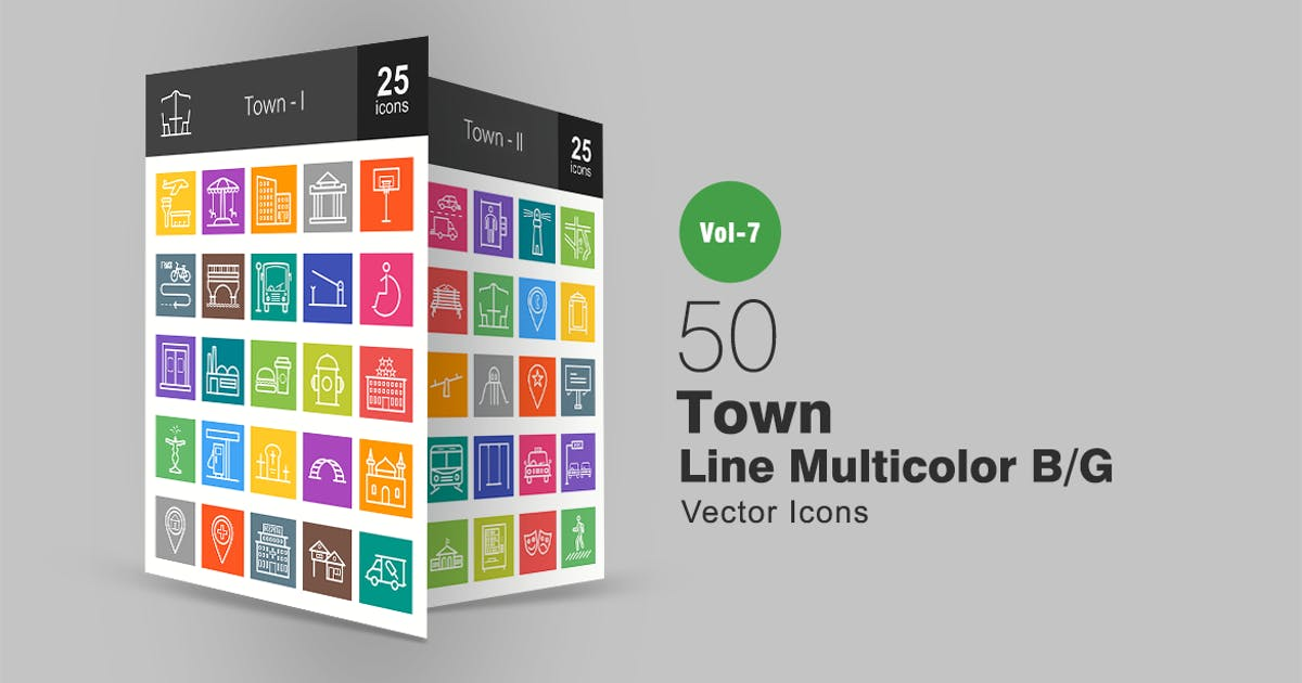 Download 50 Town Line Multicolor B/G Icons by IconBunny
