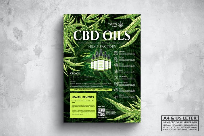 Thumbnail for CBD Hemp Oils Flyer - A4 & US Letter