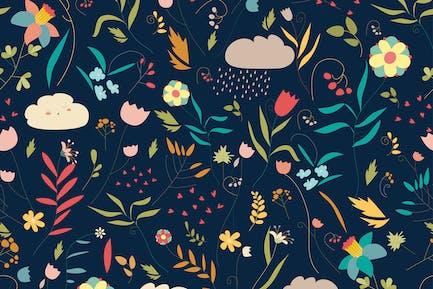 Nahtloses buntes Blumenmuster mit Blumen