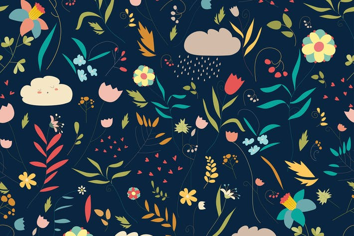 Thumbnail for Seamless colorful floral pattern with flowers