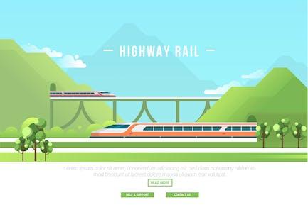 Highway Rail - Vector Landscape & Building
