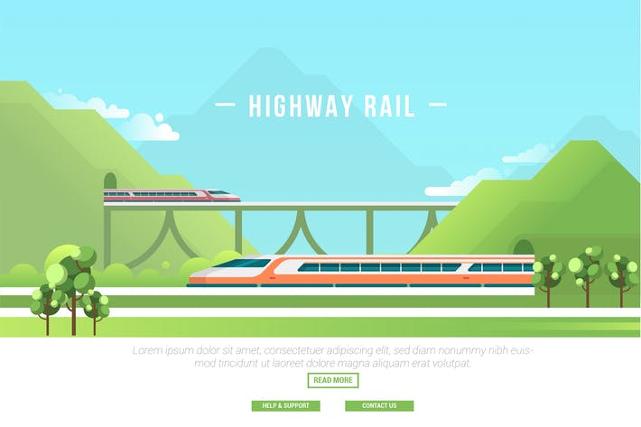 Highway Rail - Vector Landscape & Building