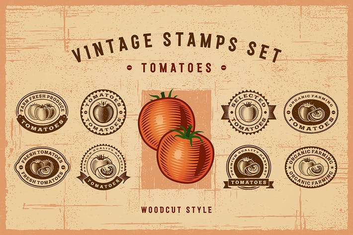 Thumbnail for Vintage Tomato Stamps Set