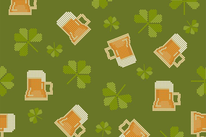 Thumbnail for Big pixels styled St. Partick day with beer