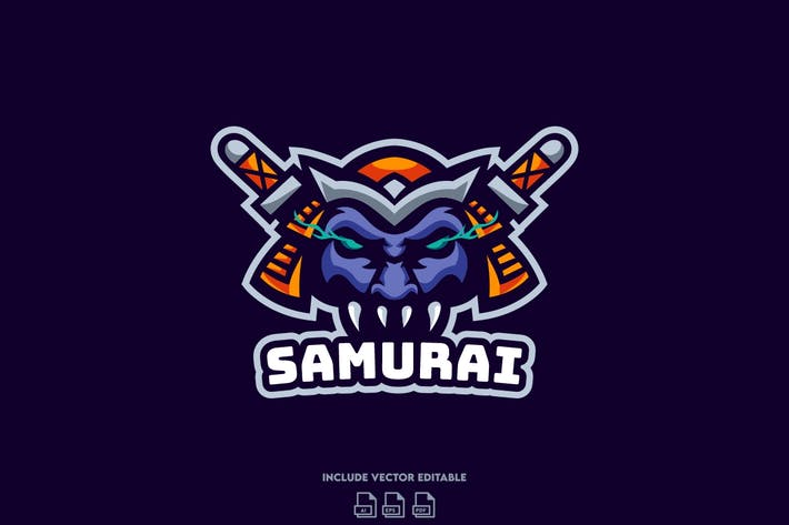 Samurai E-Sport Logo Design Template