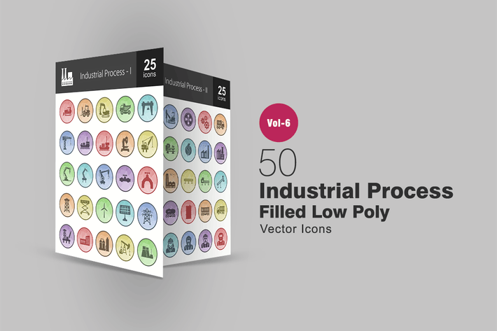 Thumbnail for 50 Industrial Process Filled Low Poly Icons