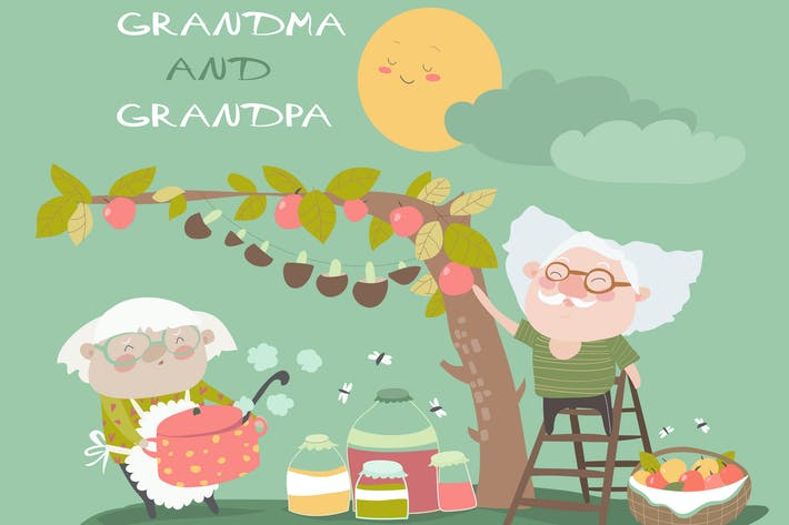 Thumbnail for Happy grandparents farming in garden. Vector