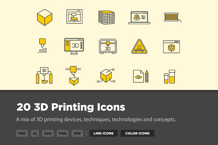 Thumbnail for 20 3D Printing Icons
