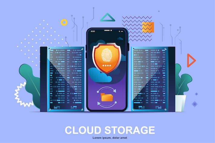 Cloud Storage Flat Concept Vector Illustration