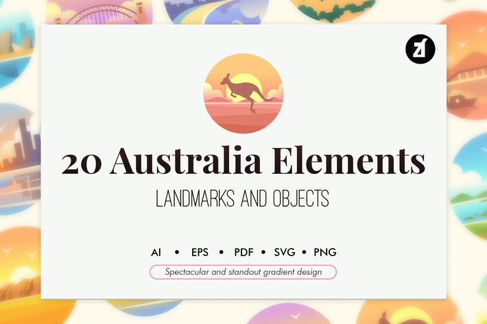 Thumbnail for 20 Australia elements in Gradient design