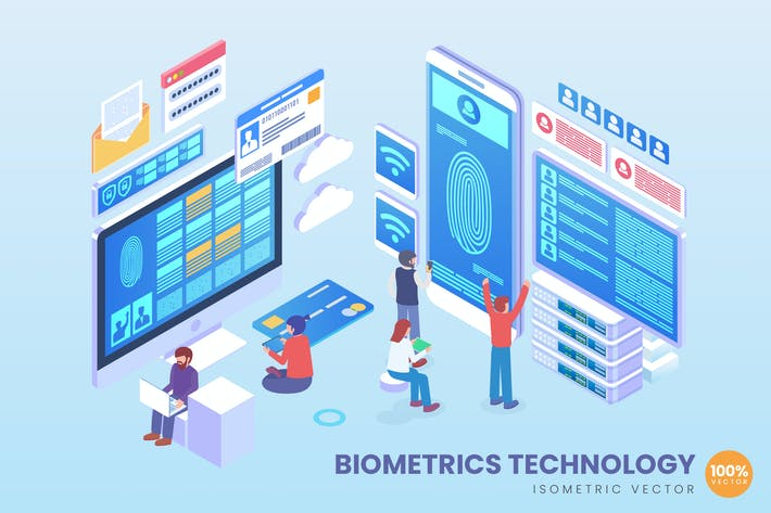 Thumbnail for Isometric Biometric Technology Vector Concept