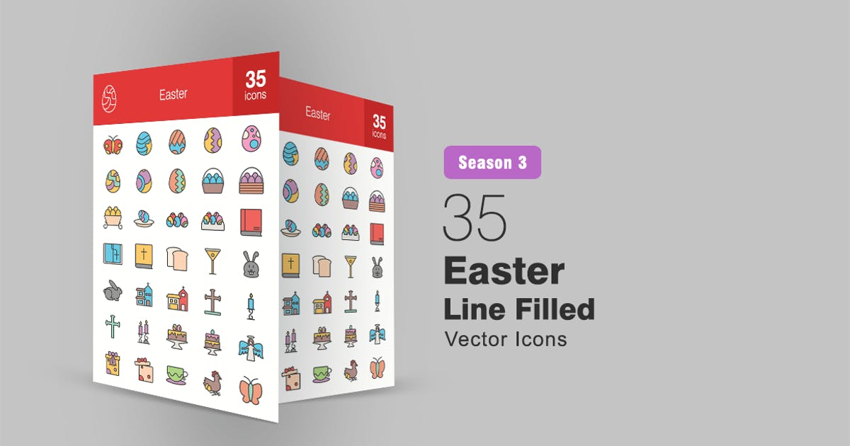 Download 35 Easter Filled Line Icons Season III by IconBunny