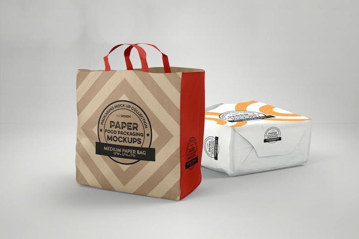 Thumbnail for Medium Paper Bags Packaging Mockup