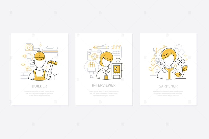 Thumbnail for Different professions - line design style banners
