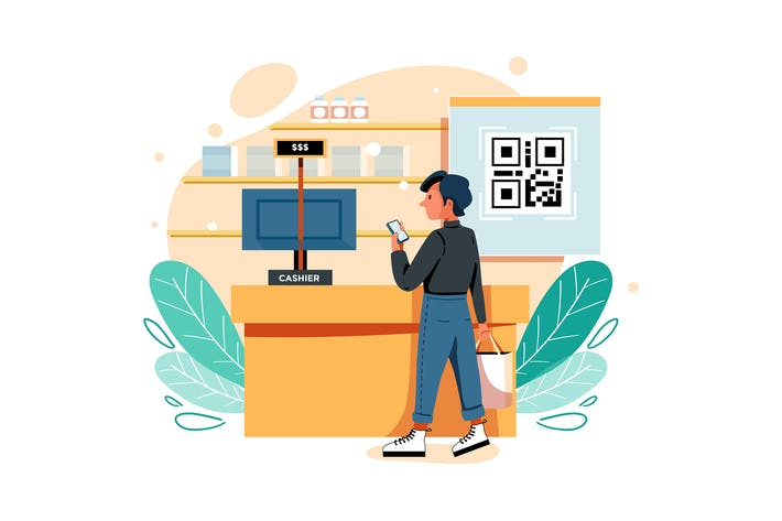 Scan code and make payment Illustration
