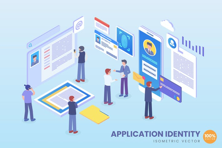 Thumbnail for Isometric Application Identity Vector Concept